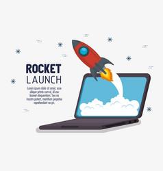 Laptop with launcher rocket vector