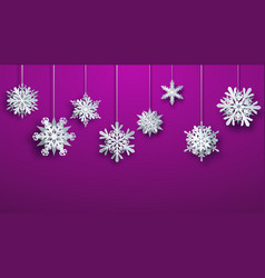 large paper christmas hanging snowflakes vector image