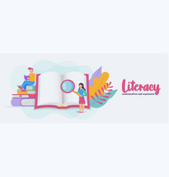 Literacy banner student group reading book cartoon vector