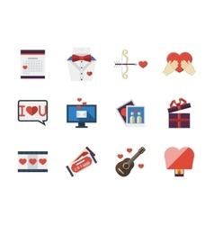 Love relationships flat icons collection vector image