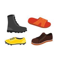 Male man season shoes in flat style men boots vector