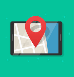 mobile map navigator with pin pointer marker on vector image