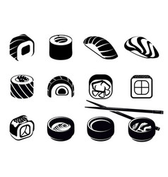 monochrome japanese food icons set vector image