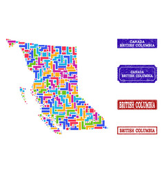 Mosaic map of british columbia province and vector