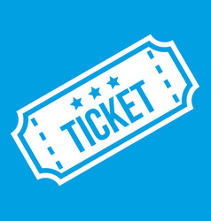 Movie ticket icon white vector