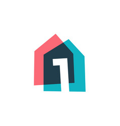 Number one 1 house home overlapping color logo vector
