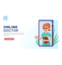 online doctor landing page internet consultation vector image