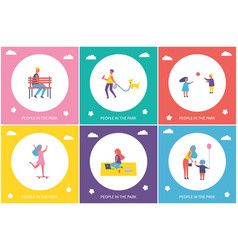 People in park entertaining cartoon banner set vector