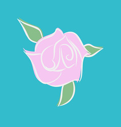 pink rose isolated flower and green leaves on vector image