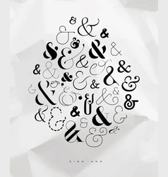 poster symbol ampersand vector image