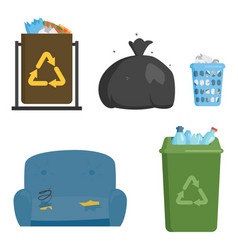 Recycling garbage elements trash bags tires vector