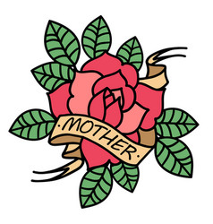 rose tattoo with ribbon and word mom and mother vector image