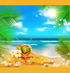 sea palm trees coconut vector image