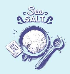 sea salt hand drawn salting crystals sodium vector image