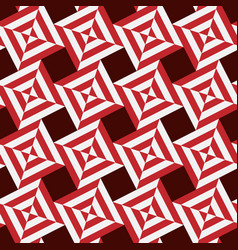 seamless pattern stripes squares red and white vector image