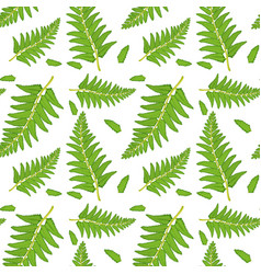 Seamless pattern tile cartoon with fern fronds vector