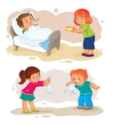 Set icons little boy sick and compassionate girl vector