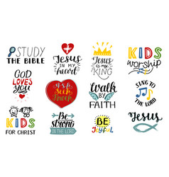 Set of 12 hand lettering christian quotes jesus is vector