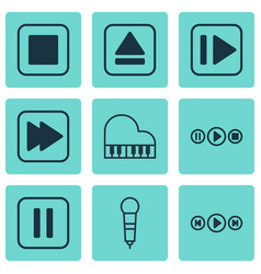 Set of 9 multimedia icons includes following vector