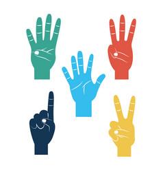 set of hands differents gestures vector image