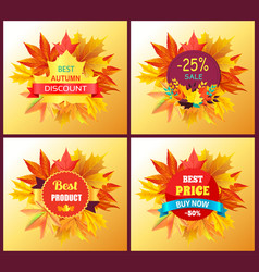 set of posters best product award stamp price sale vector image