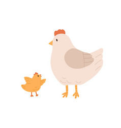 Side view cute hen and yellow chicken isolated vector