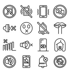 Silence icons set outline style vector
