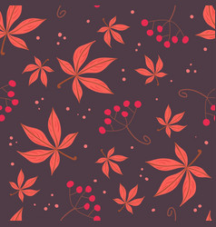 simple red leaves and berries pattern vector image