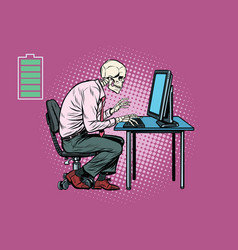 skeleton worker working on computer vector image