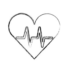 sketch draw heart beat pulse vector image