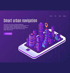Smart urban navigation city plane view on vector