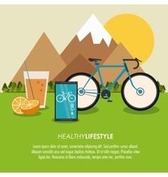 Smartphone bike juice icon Healthy lifestyle vector