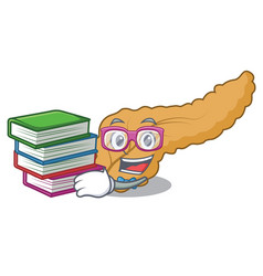 Student with book pancreas mascot cartoon style vector