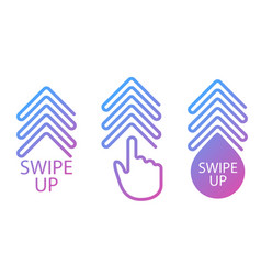 swipe up set buttons for social media arrow vector image