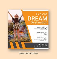 travel instagram post banner template design vector image
