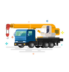 truck crane flat design vector image