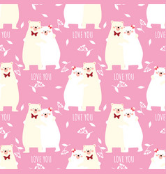 valentines day seamless pattern with cute polar vector image