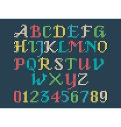 Vintage knitted alphabet vector
