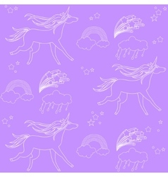 White outline unicorns with clouds and rainbow on vector image