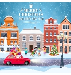 winter city street with trees and car vector image