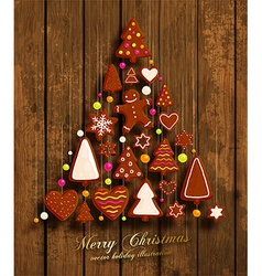 Wooden Christmas Design vector image