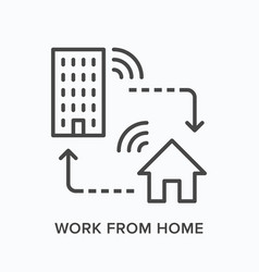 work from home remote job line icon house and vector image