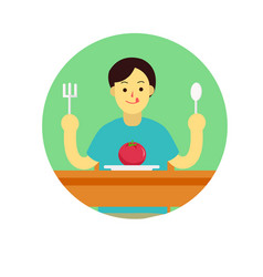Young man prepare to eat tomato with spoon vector