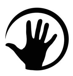 At sign with hand vector image