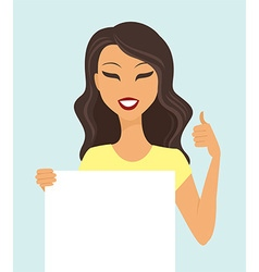 Girl holding a white board vector image