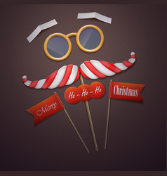 santas mustache and glasses vector image vector image