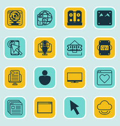 set of 16 internet icons includes send data data vector image vector image