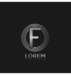 Silver f letter logo vector image