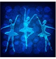 Tender ballet dancers on blue background vector image vector image