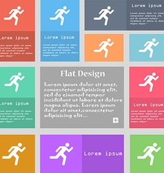 running man icon sign Set of multicolored buttons vector image vector image
